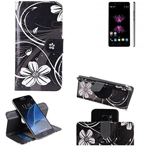 K-S-Trade® Schutzhülle Für Cubot X16 Hülle 360° Wallet Case Schutz Hülle ''Flowers'' Smartphone Flip Cover Flipstyle Tasche Handyhülle Schwarz-weiß 1x