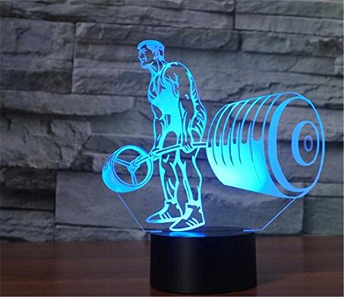 MUEQU LED Night Light 3D Illusion Bedside Table Lamp,7 Colors Changing Sleeping Light,Creative Decoration USB Touch Desk Lamp Gift for Kids Christmas Toy Gift Home Office Decorations (Weightlifting)