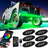 RGB LED Rock Lights, Esky 6 Pods Multicolor Neon Underglow Lighting Kit, IP68 Waterproof LED Accent Lights with APP&RF Control Music Mode Timing Function for Off Road Truck Jeep Car ATV SUV Motorcycle