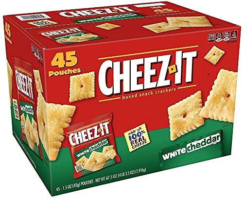 Cheez-It Crackers Single Serve Bags, White Cheddar,Saltine Crackers, 45 Bags