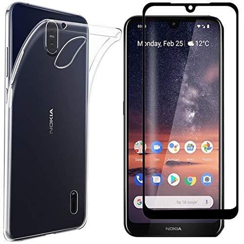 AOYIY per Nokia 2.2 Cover Cover con Vetro Temperato,[2 in 1] Custodia in Trasparente TPU Morbida e Sottile + [Durezza 9H] Proteggi Schermo Intero in Vetro temperato per Nokia 2.2 (Trasparente)