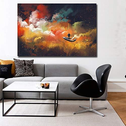 wZUN Pintura de Nube Abstracta Arte Mural en el Lienzo en la Sala de Estar Lienzo Pintura Cartel Artista decoración del hogar 50X75 CM