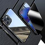 HHZY Funda para iPhone 13 Pro MAX Carcasa Magnética Vidrio Templado Transparente de Privacidad Parachoques de Metal Cubierta con Protección de Cuerpo Completo de 360 °,Negro,For 13 Pro