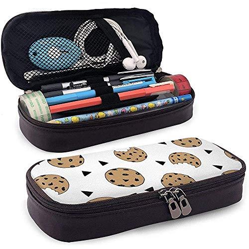 Chocolade Chip Cookie Lederen bedrukte potlood Case Leuke pen potlood Case Box School levering voor studenten, grote capaciteit briefpapier doos