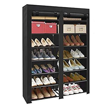 ERONE Shoe Rack Storage Organizer  28 Pairs Portable Double Row with Nonwoven Fabric Cover Shoe Rack Cabinet for Closet  Black