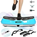 ANCHEER 3D Vibrationsplatte, Fitness Vibrationsgeräte mit 2 Leiser Motoren, Einmaligen Curved Design, Extra Große Oberfläche, LCD Display, 9 Trainings Programme, Trainingsbänder +Fernbedienung