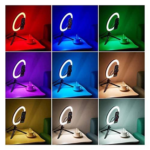YYCH Tira Ligera llevada USB LED de Colores Regulable Anillo de luz con el trípode Selfie Luz Luz del Anillo Grande RGB Luz del Anillo Ligero con el Soporte (Color : F261)