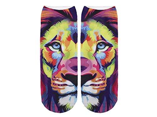 Unbekannt Socken bunt mit lustigen Motiven Print Socken Motivsocken Damen Herren ALSINO, Variante wählen:SO-L078 Löwe bunt