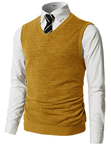H2H Mens Slim Fit Casual V-Neck Knit Vest Mustard US L/Asia XL (CMOV042)
