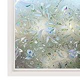 LMKJ Nueva Flor de tulipán 3D decoración estática privacidad película de Ventana de Vidrio Transparente Vinilo decoración del hogar Etiqueta de Vidrio A25 30x100 cm