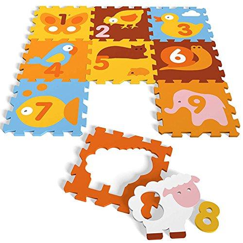 Spielmatte Fußboden EVA Schaum Puzzle Spielboden Animals oder Numbers, Ausführung:Animals