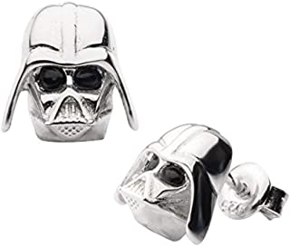 Disney Women's 925 Sterling Silver Star Wars Darth Vader 3D Stud Earrings
