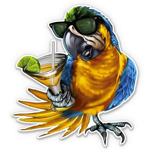 GT Graphics Blue Macaw Tropical Drink Vacation Relax - 3' Vinyl Sticker - for Car Laptop I-Pad Phone Helmet Hard Hat - Waterproof Decal