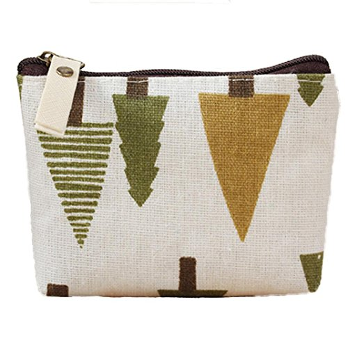 Polytree Printed Canvas Change Coin Purse Holder Zip Mini Wallet - 4