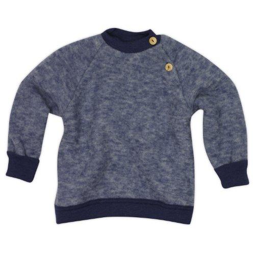 Cosilana Baby Woll-Fleece Pulli, Größe 50/56, Farbe Marine-Melange, Wollfleece 100% Schurwolle kbT