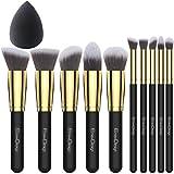 EmaxDesign - Juego de brochas de maquillaje kabuki de fibra sintética para las cejas, base de maquillaje, polvos, crema, incluye bolsa, incluye una esponja de maquillaje