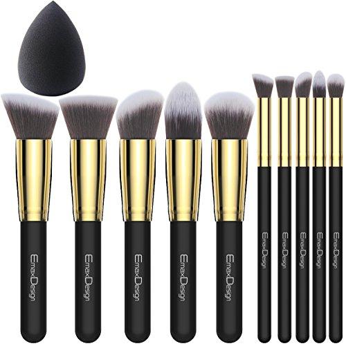 EmaxDesign 10+1 Pinceaux de maquillage,10 pièces doré Noir Premium Synthétique Kabuki Mélange Rougeur Sourcil Visage Poudre Liquide Crème Produits cosmétiques Pinceaux & 1 EmaxBeauty Makeup Blender