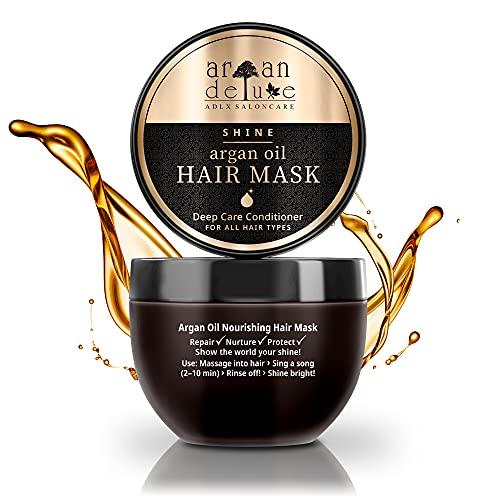 Argan Deluxe Haarmaske in Friseur-Qualität 250 ml - Haarkur mit Arganöl zur intensiven Pflege - für Geschmeidigkeit & Glanz - Effektive Haarpflege für trockenes, strapaziertes &...