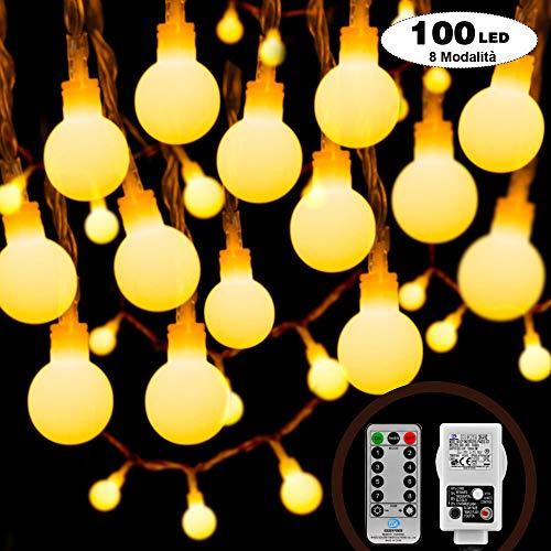 Myguru 100 LED Catena Luminosa 8 Modalità Luce Stringa 10m + Cavo Prolunga 5m Lampadina Bulbo Catene Luminose Decorazioni Festa, Matrimonio, Giardino, Natale, Terrazze, Bar Telecomando + Timer …