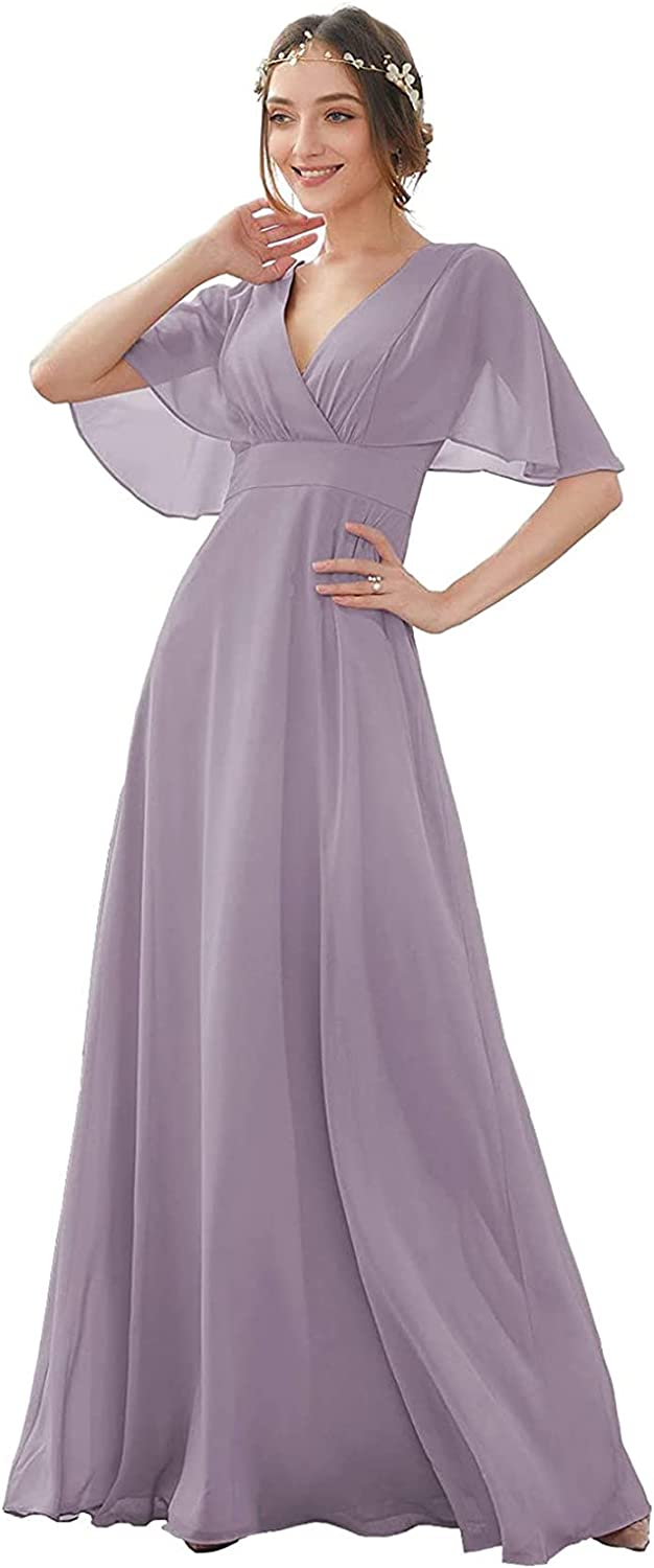 ARCSZXZ Dusty Thistle V-Neck Bridesmaid Dresses for Wedding Batwing Sleeve Long for Women Formal Evening Gown Plus Size 22