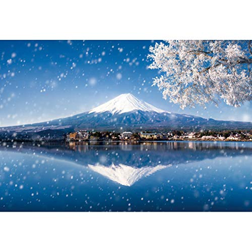 DORCEV 7x5ft Mountain Fuji Winter Snow Scenery Backdrop Clear Lake Reflected The Beautiful Scenery Japanese Themed Party Photography Background Kids Adults Art Portraits Photo Prop