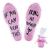 Jeasona Prosecco Geschenk Kuschelsocken Damen Flauschige Lustige Wenn Du Das Lesen Kannst Socken mit Motiv Geschenke für Frauen (Rosa Prosecco, 1)