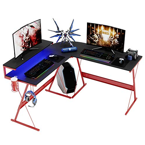 Modern L Shaped Gaming Desk with RGB LED Lights,Domy Home Computer Corner Desk PC Laptop Writing Study Workstation, Space-Saving Large Stand Desk for Home Office, Easy to Assemble Red