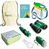 Narvi Toys-Outdoor Explorer Kit & Bug Catcher Kit-Binoculars, Magnifying Glass, Bug Catcher, Flashlight, 5 in 1 Tool, Great Kids Gift Set, STEM Toys, Educational Toys, Nature Toys for Camping, Hiking