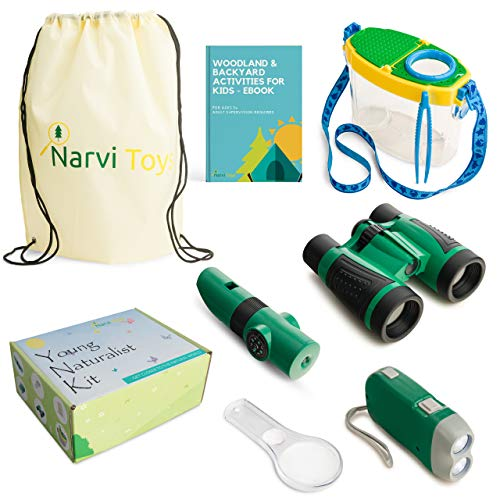 Narvi Toys-Outdoor Explorer Kit & Bug Catcher Kit-Binoculars, Magnifying Glass, Bug Container, Flashlight, 5 in 1 Tool, STEM Toys, Educational Toys, Nature Toys for Camping, Hiking