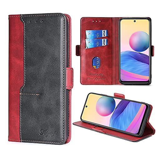 FiiMoo Handyhülle Kompatibel mit Xiaomi Poco M3 Pro 5G / Xiaomi Redmi Note 10 5G, [Weicher TPU] [Kartenfach] [Magnetverschluss] [Aufstellfunktion] PU Leder Hülle Schutzhülle Hülle -Rot