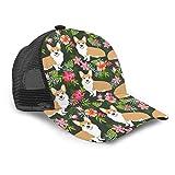hgdfhfgd Gorra de béisbol Unisex con Estampado Hawaiano Floral Welsh Corgi patrón de Malla Gorra de Camionero Gorras para Hombres Mujeres Ajustable Strapback Negro