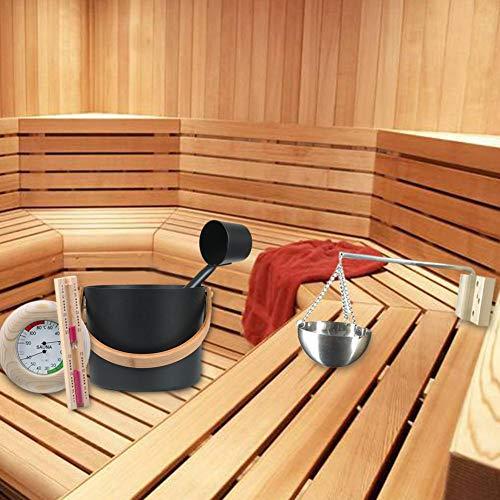 Dequate Juego De Cubos De Sauna, Cubo De Sauna De 7 litros con Cucharón con Cuchara Larga Reloj De Arena Termómetro/Higrómetro Kit De Taza De Aceite De Aromaterapia para Sauna Designer