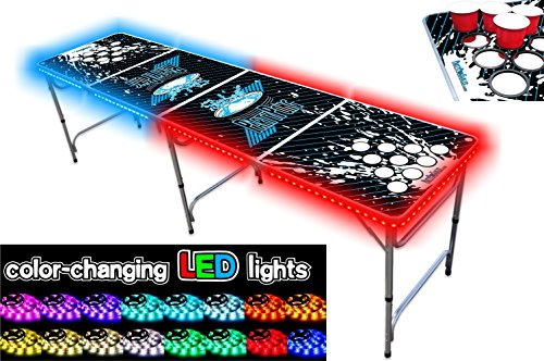 Buy Discount PartyPongTables.com 8-Foot Beer Pong Table w/Cup Holes & LED Glow Lights - Splash Editi...