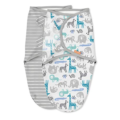 """SwaddleMe Original Organic Swaddle, It's Zoo Cute, Small (0-3 Months, 7-14 Lbs, Up to 26""""), (Pack of 2), Small (0-3 Months)"""