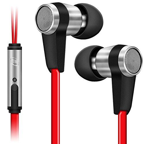 deleyCON SOUNDSTERS S20-M In-Ear Kopfhörer Headset Orhörer mit Mikrofon 3,5mm Klinken Stecker 90° gewinkelt hochwertige Sound- und Sprachqualität - Rot