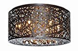ET2 Lighting E21300-10BZ Flush Mount with Clear and White Glass Shades, Bronze