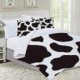 IU POP-Street Juego de Funda nordica,Ropa de Cama,Hide of A Cow with Black Spots Abstract and Plain Style Barnyard Life Print,Microfibra,Edredon 220x240cm con 2 Fundas de Almohada 50x80cm