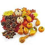 Aoweika decorazione autunnale del Ringraziamento decorazione per Halloween mini zucche artificiali e zucchine foglie d'acero pigne ghirlande piccole decorazioni a zucca autunno casa centrotavola