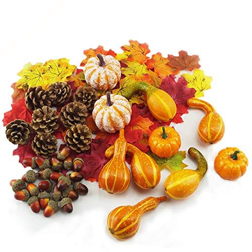 Aoweika - Decoración de otoño para Halloween, diseño de calabazas artificiales y calabazas, hojas de arce, conos de pino, bellotas falsas pequeñas calabazas, decoración de otoño