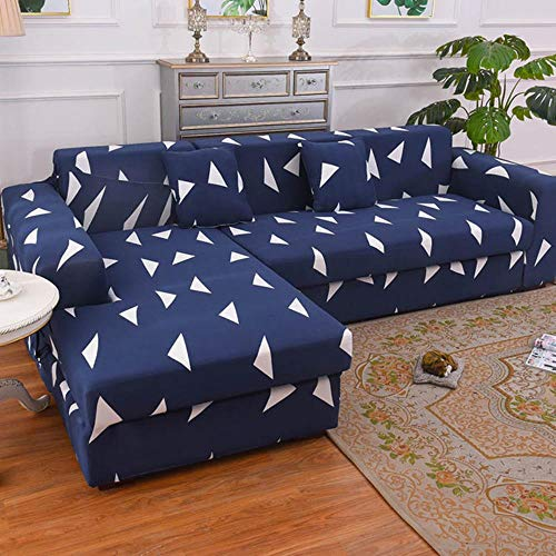 JUIC 1/2 Pieces Sofa Cover Set Geometric Couch Cover Elastic Sofa Cover for Living Pets Corner L Shaped Chaise Longue Sofa Cover,Color 10,1-seat 90-140cm