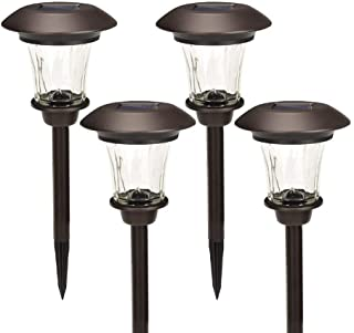 GIGALUMI Solar Path Lights Set of 4 Bronze with Glass Lens Rechargeable Battery and Extra-Bright Automatic LED (Warm Whit...
