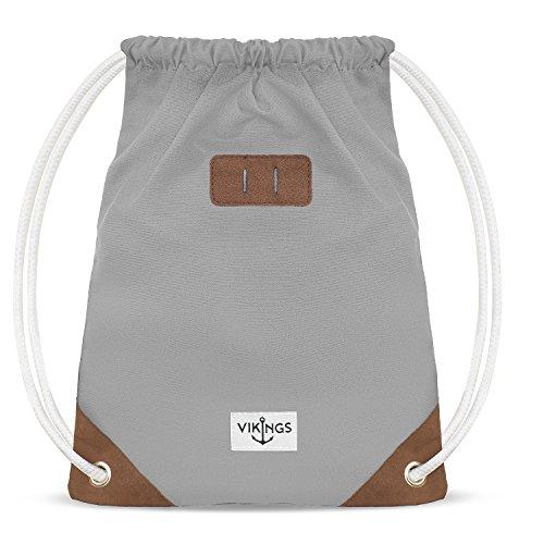 NEUES Model Gym Bag Sack Turnbeutel Baumwolle Canvas Tasche Sport Frauen Männer Kinder, Farbe:Grau