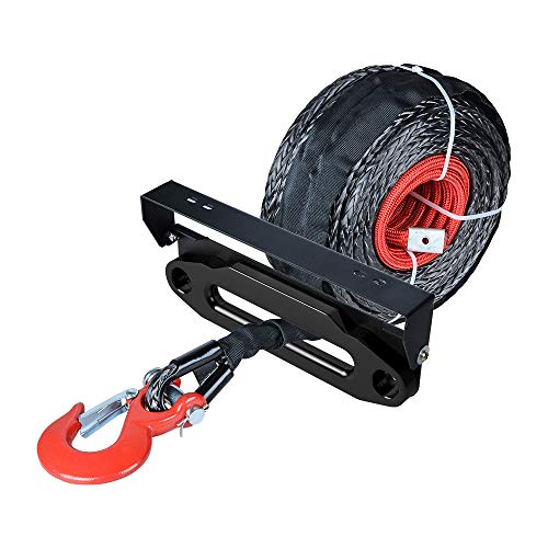 Find Discount 92 feet 1/2 inch Recovery Synthetic Winch Rope with RED Hook and 10 inch Black High-Gr...