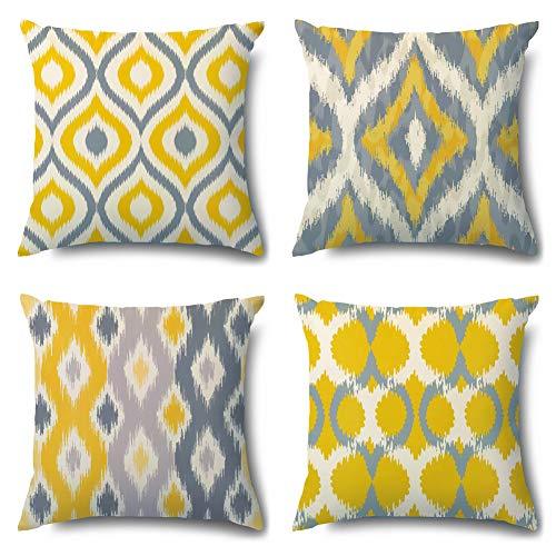 Artscope Fundas de almohada acogedoras, paquete de 4 fundas de cojín decorativas de terciopelo suave para sofá, dormitorio, sala de estar, decoración del hogar, 45,7 x 45,7 cm, color amarillo y gris