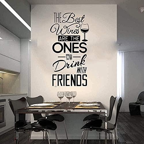Pegatinas de pared Etiqueta de la pared Mejores vinos Citas para beber con amigos Citas de bar 38X73Cm