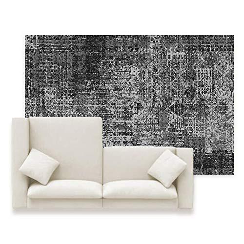 WIVION Moderne Teppiche, Nordic Schwarz Großen Teppich Home Decor Schlafzimmer Schlafsaal Rechteck Teppich Für Wohnzimmer Küche Nachttisch Matte Yoga-Matte,100x150cm(39x59inch)