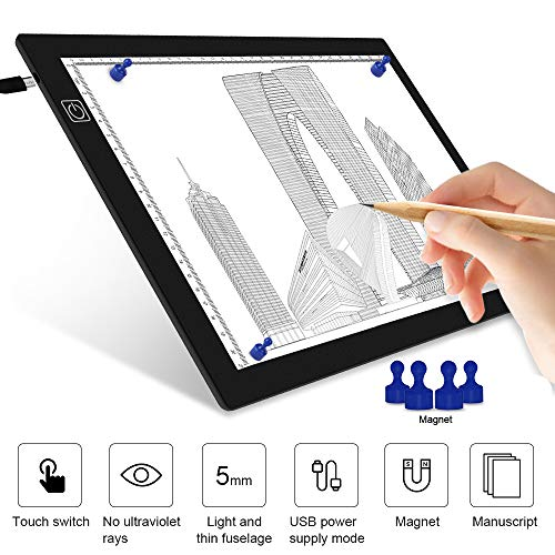 A4 Light Pad for Drawing-Tracing Light Box with 4 Magnets,Professional 8mm Thin Light Table,Stepless Dim Light Board for Diamond Painting,X-ray View