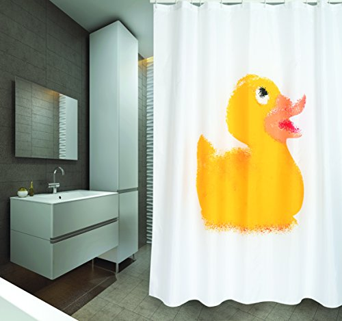 """MSV Cotexsa by Premium Anti-Schimmel Textil Duschvorhang - Anti-Bakteriell, waschbar, 100% wasserdicht, mit 12 Duschvorhangringen - Polyester, """"Ente"""" weiß 180x200cm – Made in Spain"""