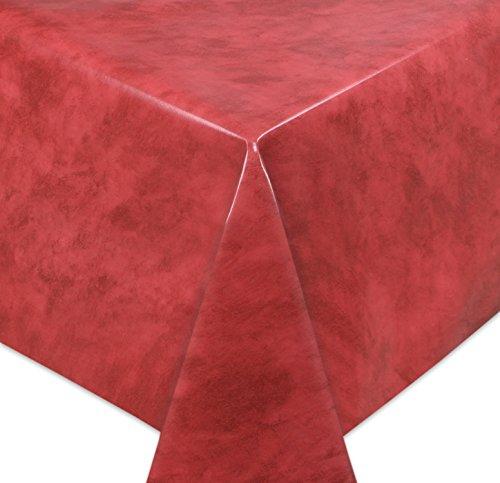 WACHSTUCH Tischdecken, Meterware abwischbar, Größe wählbar, 240x140 cm, Glatt Marmor Rot