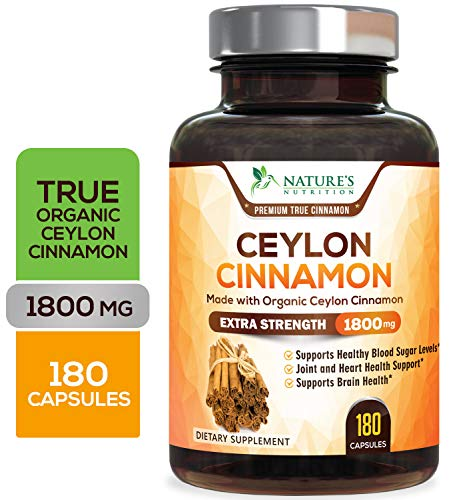 Certified Organic Ceylon Cinnamon (Made with Organic Ceylon Cinnamon) 1800mg - Organic Sri Lanka Ceylon Cinnamon Powder Pills - Made in USA - Best Vegan Blood Sugar Support Supplement - 180 Capsules